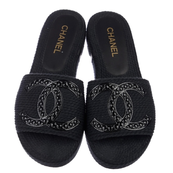 Chanel Navy 28 Cc Slide Sandals Flats